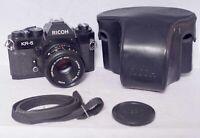 Vintage Ricoh KR-5 35mm SLR camera with Riconar 55mm f.2.2 lens, case and strap