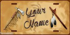 NATIVE AMERICAN TOMAHAWK AND FLUTE ART  License Plate, Personalized. made in USA