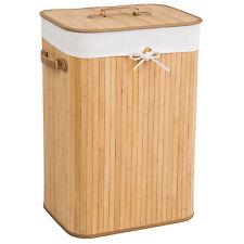 Cesta de bambú para la ropa 72L colada baño cesto madera pongotodo natural  NUEV