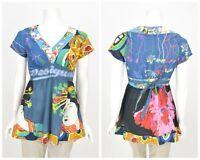 Womens Desigual Japanese Geisha Print Blouse Shirt Multicolor Cotton Size M