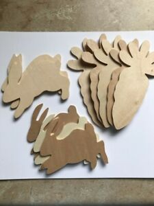 10 Wood Cutout Shapes Unfinished Bunnies Rabbits Carrots