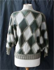 vintage 60s Leather Green Diamond Knit Womens Sweater Argyle Look