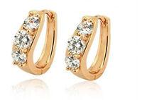 Elegant 18 k Gold Plated Hoop Earrings with White Zircons Hoops E472