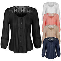 (Clearance) Women's  3/4 Sleeve Button Down Blouse Shirts with Lace Trim S,M,L