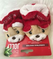 Baby Baby's First Christmas Booties Bear 0-6 Months New Be Jolly