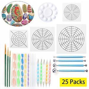 25pcs/Set Mandala Dotting Tools Rock Painting Kits Dot Art Pen Paint Stencil