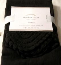 POTTERY BARN SHAM Ebony Espresso Brown Crochet Trim Standard Pillow Linen $49