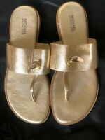 Michael Kors Golden Leather Flats Sandals Shoes Size 8M-Beautiful Preowned Con'd