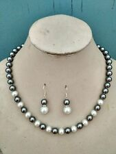 "AAA+ 8mm 18"" south sea gray/white  shell pearl necklace earring Set"
