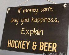 Hockey & Beer Sign - Pads Gloves Stick Helmet Skates Mask Jersey Puck