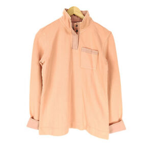 Orvis Sweatshirt Peach Men's XS Weathered Trim 1/4 Snap Long Sleeve Cotton