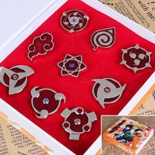 9pcs/1set Naruto Sharingan Konoha Cosplay Badges Pin Metal Toy Gift