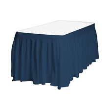 """2 Plastic Table Skirts 13' X 29"""" Streches-19' - Navy Blue"""