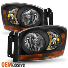 2006 2007 2008 Dodge Ram 1500 2500 3500 Black Headlights Lamps Replacement Set