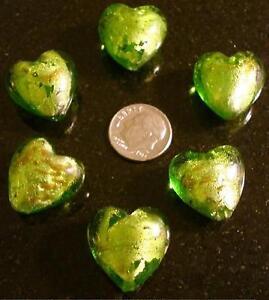 6 Peridot green art glass heart shaped beads silver foil copper sparkle gbs019