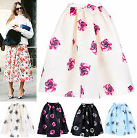50s Retro Rose Floral Print Pleated Full Midi Skirt Satin Taffeta Dita Von Teese