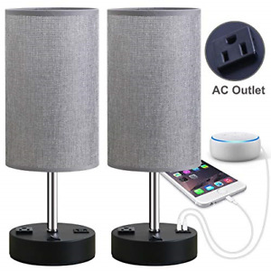 Focondot Table Lamp, Bedside Nightstand Lamps with Dual USB Charging Ports & an