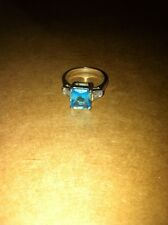 Blue Emerald Cut CZ Ring Sterling Silver Size US 7