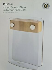 ProCook Smoked Glass and Acacia Knife Block