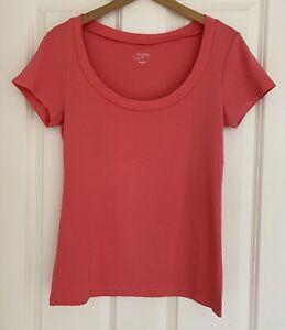 Ann Taylor Loft USA Salmon Pink Cotton t-shirt cap sleeves Size M