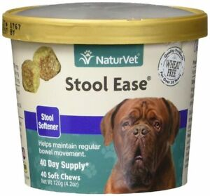 NaturVet STOOL EASE Dog Poop Puppy Softener Bowel Movement 40 Soft Chews