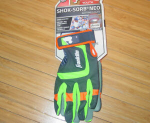 Youth Franklin Batting Gloves Neo Shok Sorb Green Gray Orange Boys Girls Kids
