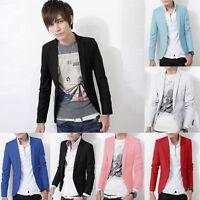 Fashion Men Boys Casual Candy Color One Button Slim Fit Suits Blazer Coat Jacket