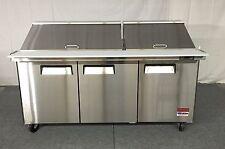 "72"" SANDWICH PREP TABLE UNIT 3 DOOR MEGA TOP SALAD PREP 30 Pan 72 Cooler 6' NEW"