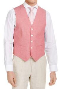 Tommy Hilfiger Mens Suit Vest Red Size XL Modern-Fit ThFlex Chambray $125 147