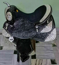 "Western show saddle 16"" on Eco- leather buffalo color black with drum dye fini"
