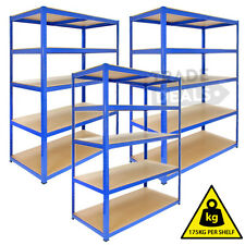 3 x 120CM WIDE HEAVY DUTY METAL WAREHOUSE RACKING GARAGE SALON SHELVING STORAGE
