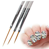 3 tlg UV Gel Schlepper Pinsel Spitzpinsel Nail Art Striper Liner Nagel Design 24