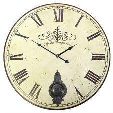 Café De Marguerites Horloge Mural Bois Cuivre Pendule Chiffre Romain 60cm