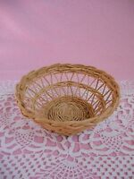 Vintage Small  Round  Woven Wicker  Basket