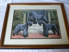 More details for kerry blue terrier dog group mounted and framed print, edwin megargee