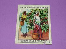 CHROMO CONGO BELGE N°232 CUEILLETTE DU CAFE CHOCOLAT PUPIER AFRIQUE 1938-1950