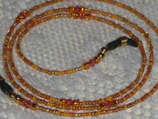 "Eyeglass Chain~Hand Beaded Orange Sun Mix~Crystals~Neck Cord~28""Buy 3 SHIP FREE"