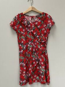 Girls Red Dress Age 9-10 Floral Wrap Front Elasticated Waist