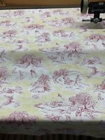 """Discontinued   Toile On Cotton Duck  Drapery Fabric 54"""" Wide By The Yard"""