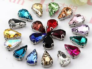 20 Crystal Glass Teardrop Rhinestones Rose Montees Beads 8X13mm Colour Choice