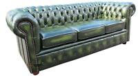 Brand New Chesterfield 3 Seater Sofa Settee Antique Green Real Leather Couch