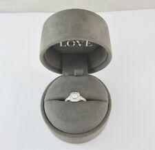 """VERA WANG """"LOVE"""" 14K WHITE GOLD DIAMOND & SAPPHIRE ENGAGEMENT RING 4.2G .75 CT."""