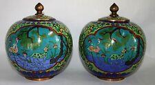 Pair Beautiful Antique Chinese Cloisonne Enamel Vases Lidded Jars