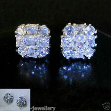 Men S Square 10mm Simulated Diamond 18k White Gold Filled Stud Earrings Uk