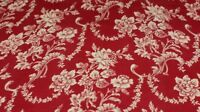 Antique French Christmas Red Antique Cotton Fabric c1880~Roses & Scrolls