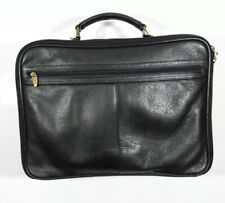 Omega Large Black Leather Laptop Bag Attache Case
