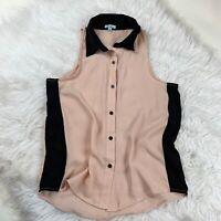 Hearts Womens Size Medium Sleeveless Collared Blouse - Light Pink / Black