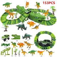 153 Stück Spielzeug Set Dinosaurier Rennstrecke mit Gleisblöcke DIY Autorennbahn