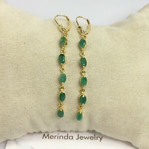 14k Solid Yellow Gold Leverback Long Dangle Earrings, Natural Emerald 2.40 Gr