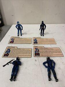 4 Vintage G.I. Joe COBRAS 1984 Hooded Cobra Commander  w/ file card